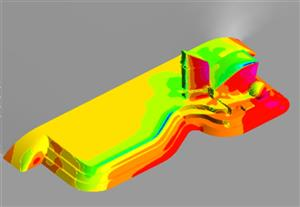 The CFD modeling of a wind loading on the complex geometry building